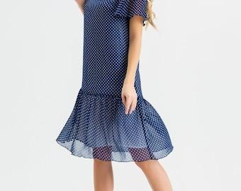 Cute Blue polka Dot Dress,Summer Chiffon Dress,Ruffles Dress Retro