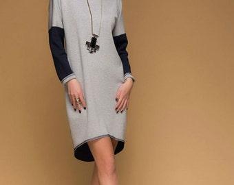 Loose Warm Jersey Two Sides Dress.Grey Casual Dress Winter. Blue Dress Tunic