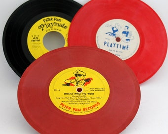 Peter Pan Records, Playtime 78 RPM Whistle While You Work from Snow White, Skip to My Lou, Peter Pan Playmate 45 RPM, Doggie in the Window