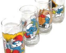 Vintage Smurf Glasses Set, Collectible Glass Set