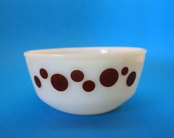 Rare Fire King Dots Bowl, Dark Brown or Maroon Dots Bowl