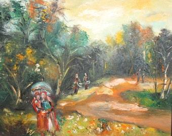 2006 Impressionist oil painting landscape signed