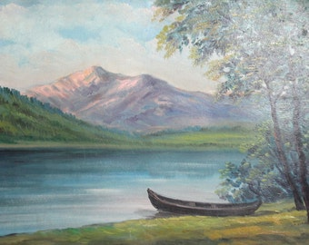 1963 oil painting river landscape signed
