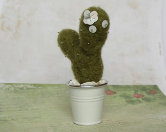 Cactus needle felted plush, small fabric potted plant, office decor