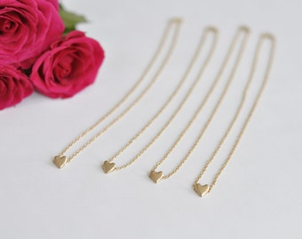 Maid of honor gift - 4 x Heart Necklace in gold