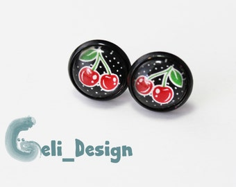 Cabochon earrings cherries summer points