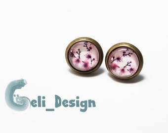Cabochon earrings cherry blossoms spring summer
