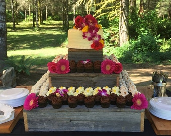 Tiered cupcake stand, large cupcake stand, cupcake stand, custom cupcake stand, wood cupcake stand, rustic party decor, cake stand