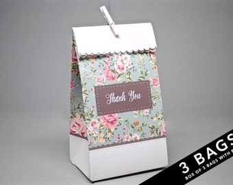 3 Floral Treat Bags with Pegs