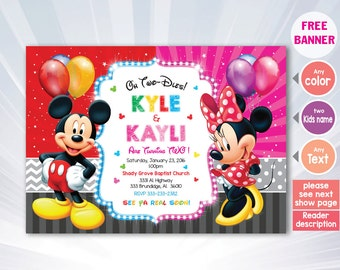 2 babys invitation - Mickey Minnie Mouse Twins Birthday Invitation, Twins Siblings Clubhouse , Invitations For Twins or Siblings