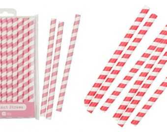 Pack of 10 Jumbo Straws. Choose from Pink or Red Striped.