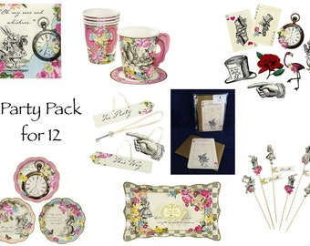 Gorgeous Alice in Wonderland Party Pack for 12 or 24.