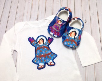 Eskimo Baby Shoes and Bodysuit, Soft Sole Baby Shoes, Baby Shower Gift, baby girl outfit, baby girl gift, infant girl gift, Eskimo baby