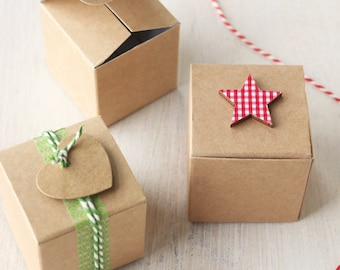 10x Kraft DIY Gift & Favour Box 5cm square