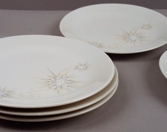 Set of 5 50s Mid Century Midcentury Modern China Salad Plates Dishes, Iroquis by Ben Seibel Impromptu Design Atomic Age Jet Age Starburst