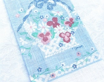 NEW Blue Pink Linen Floral Basket Dish Tea Country Towel (16 x 26)