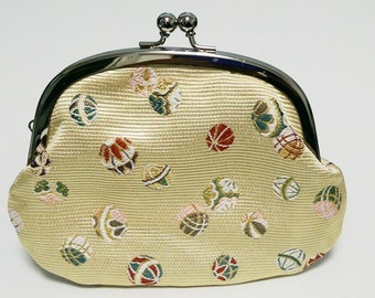 Japanese Purse,pouch,Japanese textiles,gold brocade