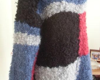 Knitted dress  thick back boucle- 100% wool-size 36-40EU/8-12 USA