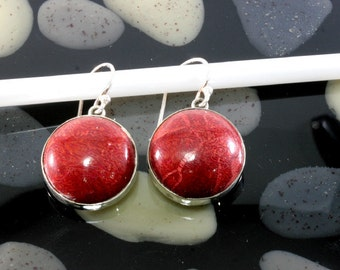 Sponge coral  and Silver Earrings  -- 4450