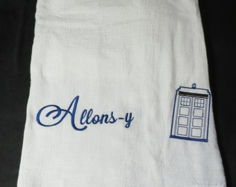 Doctor Who Flour Sack Towel, Kitchen towels, Allons-y, Tardis