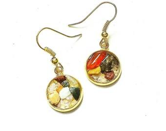 Crushed Gemstone Earrings // Gemstone Jewelry // Gemstone Earrings // Quartz Jewelry // Quartz Earrings