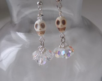 Skull Earring Small White Skulls with Clear AB Round Crystals Dangles  E25