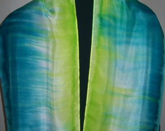 Teal and Chartruse Belended Wearable Art - Hand Painted Silk Scarf