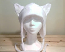 Wolf Hat - Wolf Ears - Wolf Ear Hat - Aviator Wolf Hat - Wolf Earflap Hat - Wolf Fleece Hat - White Wolf Ear Hat - Wolf Cosplay - Photo Prop