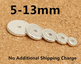 Sterling Silver Round Spacer Beads, Sterling Spacer Beads, Sterling Silver Greek Beads, Disc Beads, Round Beads 5mm 7mm 9mm 11mm 13mm