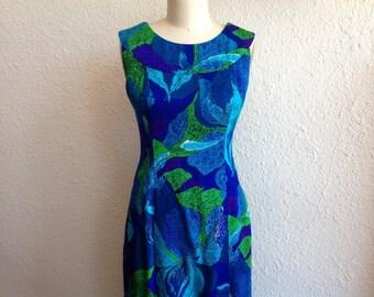 1960s Hawaiian orchid print maxi dress