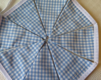 BLUE GINGHAM BUNTING double sided boys party fete summer check Handmade By Vintage Rose