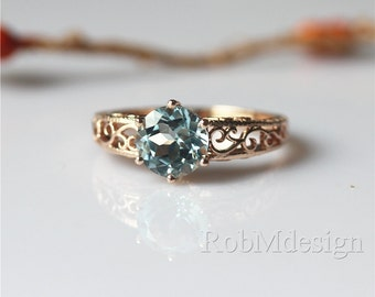 VS Round Cut 8mm Blue Aquamarine Ring In 14k Rose Gold Ring Aquamarine Engagement Ring Gemstone Ring Engagement Ring