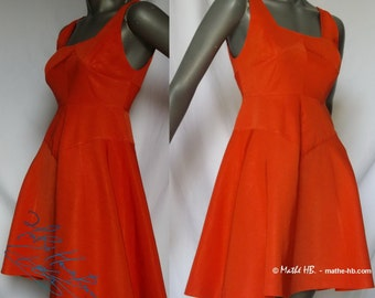 dress, corail red, trapezium cut, retro styl, zise XS, summer party, festival evening-cocktail, ball of ceremony wedding