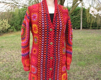 """coat crocheted multicolor grannies """"Olé Olé!"""""""