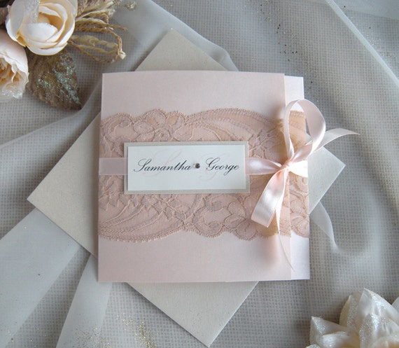 Lace Blush Pink And Gold Color: Wedding Invitation Lace Wedding Invitation Blush Rose Gold