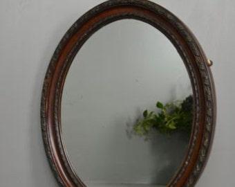 Antique Vintage Edwardian Oval Wall Mirror