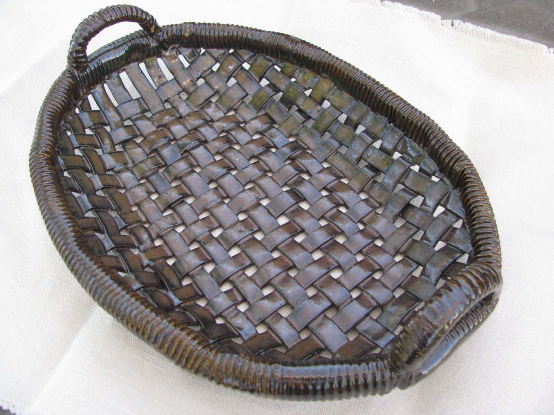 Ceramic Basket Serving Platter Pottery Basket Woven Clay