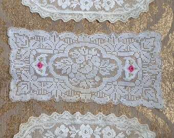Set of 3 Vintage Filet Crochet Doilies Filet Lace - from late 1800's