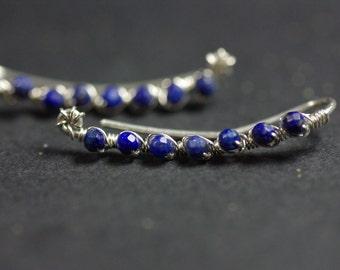 Lapis Lazuli Climbers, Ear Climber Earrings Sterling Silver Climbers Lapis Ear Crawlers Silver Ear Cuff Lapis Lazuli Earrings