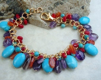 Multi Gemstone Cluster Bracelet.Multi Color.Statement.Bridal.Turquoise Stone.Amethyst.Red Coral.Carnelian.Gold.Colorful.Chunky.Handmade.