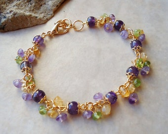Multi Gemstones Cluster Bracelet.Purple Amethyst.Yellow Citrine.Green Peridot.24k Gold plated.Beadwork.Bridal.Delicate.Colorful. Handmade.