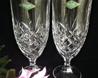 2 Lead Crystal Shannon DUBLIN Iced Tea Footed Water Goblets 7.75 Inch Glasses Godinger Stemware