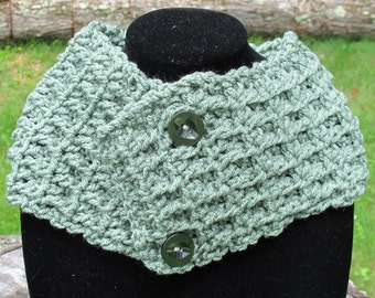 Crochet Waffle Stitch Cowl Scarf Neckwarmer With Buttons In Sage Green Ready to Ship