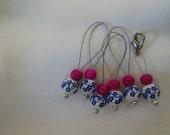 Blue Flower Stitch Markers - large set