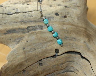 Sterling Silver Turquoise Nugget Single Dangle Earring