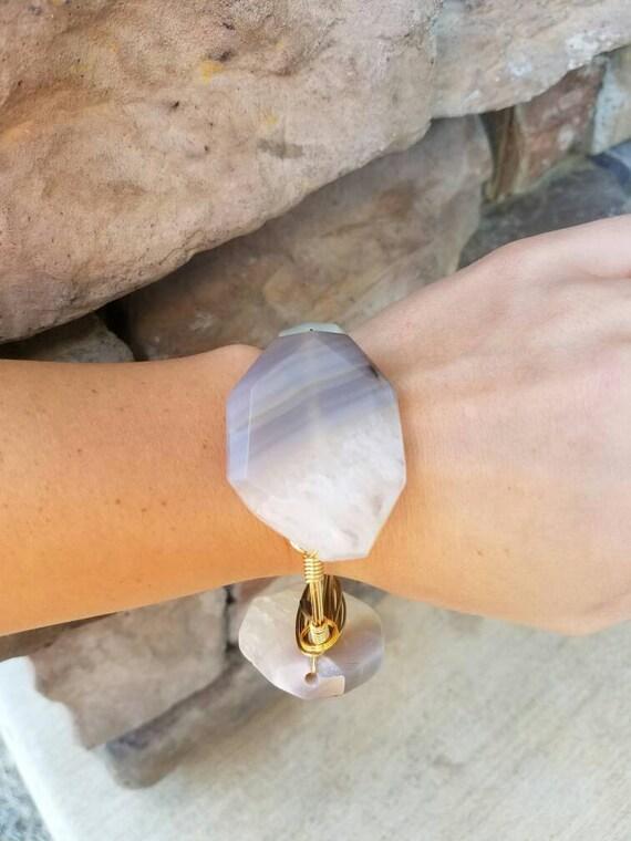 Agate Gemstone Bangle,Stack stone bangles, grey agate,smokey grey agate gemstone bangle, large agate stone