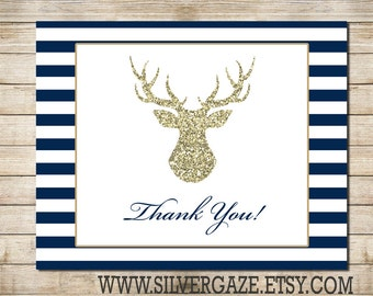 Buck Navy and Gold Thank You note card _71B