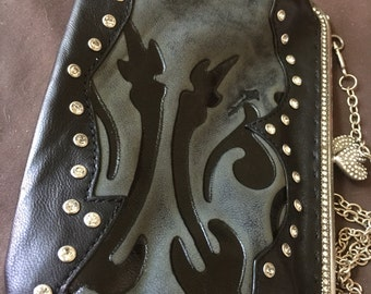 Vintage Leather Suede Marcosites Studded Shoulder Bag Purse