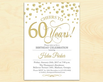 60th Birthday Invitation / Any Age / Cheers to 60 Years / Gold White / Diamonds / Printable Invitation / Customized