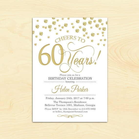 60th Birthday Invitation. Any Age. Cheers To 60 Years. Gold